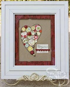 Framed Button Heart Art by ChickieShannon Diy Crafts For Gifts, Crafts For Girls, Crafts To Make, Fun Crafts, Arts And Crafts, Paper Crafts, Button Art, Button Crafts, Heart Button