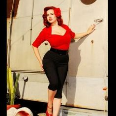 pinup couture Tops - Pinup couture red rockabilly 50s vixen burlesque