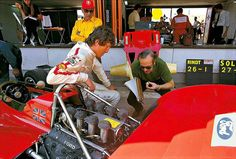 Jochen Rindt and Colin Chapman discuss the foibles of Rindt's new 72. Jarama 1970.