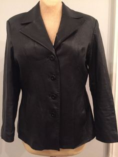 WILSONS WOMENS LADIES LINED 100% GENUINE LEATHER SOLID BLACK JACKET COAT ~SZ L #WilsonsLeather #BasicJacket #Casual