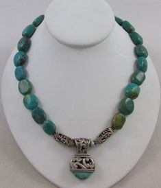 """UNIQUE FAR EAST STERLING SILVER & TURQUOISE 18"""" NECKLACE"""