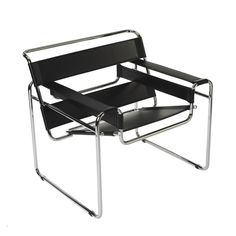"""Germany. The chair B-3 later known as the """"Wassily"""" was designed in 1925 by Marcel Breuer and  first manufactured in the late 1920s by Thonet, the German-Austrian furniture manufacturer most known for its bent-wood chair designs, under the name Model B3. It was first available in both a folding and a non-folding versions. In this early iteration, the straps were made of fabric, pulled taut on the reverse side with the use of springs. Black and white fabric were available."""