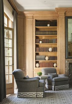 Traditional Living Room in Southampton, NY by Thomas Pheasant Interiors