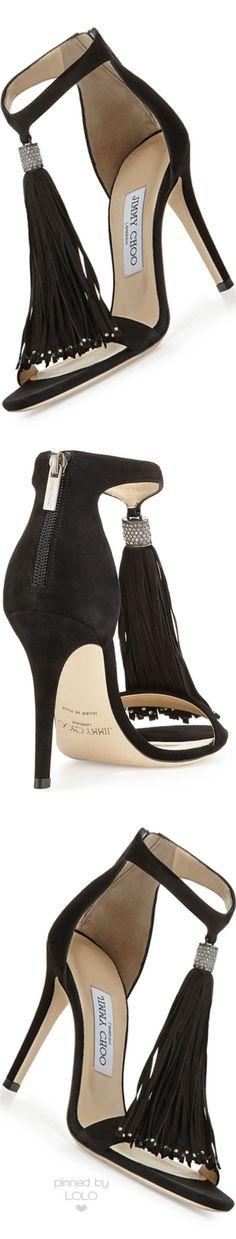 7107fd3ca7d Jimmy Choo Viola Suede Tassel Sandal | LOLO❤ Zapatos Shoes, Shoes Heels,