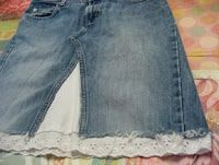 DIY jean skirt from jeans...Oooh! I could do this with my daughter's jeans that are now too short but still fit her in the waist! :)