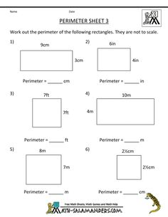 math worksheet 3rd grade perimeter 3