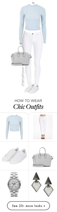 """""""Casual chic pale monochrome fall/spring outfit"""" by cherrysnoww on Polyvore featuring Dr. Denim, Topshop, Marc by Marc Jacobs, Givenchy, Oasis, monochrome, pale and babyblue"""