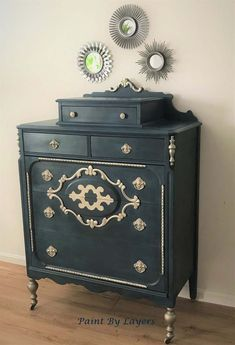 SOLD Vintage Dresser, Depression Era Dresser, chest of drawers, handpainted in Teal and gold My Furniture, Repurposed Furniture, Furniture Projects, Furniture Making, Furniture Makeover, Painted Furniture, Furniture Refinishing, Antique Furniture, Wood Projects