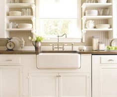 White Kitchen Farm Sink that sink and thick concrete countertops! | dream home ideas