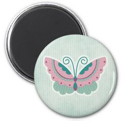 Butterfly on green-striped background Magnet