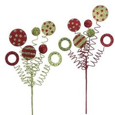 """RAZ Glittered Curly Sprays Set of 2  Red/Green Set includes one of each style Made of Styrofoam Measures 15""""  Curly stems with circles of polka dots and stripes. RAZ Count Down to Christmas"""