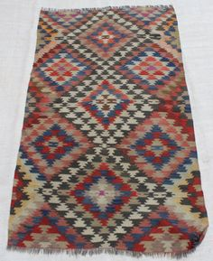 Turkish Kilim Rug Handmade Traditional Anatolian  Natural Colours  %100 Wool  Size: 6x34.9 / 185x104cm  Feel free to ask any information  CODE : 7637