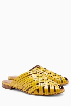 Buy Ochre Leather Woven Mules from the Next UK online shop