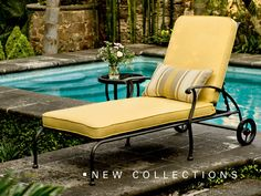 Gorgeous chaise lounge from our new Woodard line, coming soon.