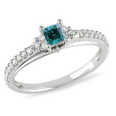 1/2 CT. T.W. Enhanced Blue and White Diamond Engagement Ring in 10K White Gold - Save on Select Styles - Zales