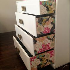 wallpaper to add a pop of color and pattern on the side of the drawers on a dresser...