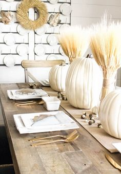 Neutral Gold & White Thanksgiving Table - White Pumpkins & Wheat | ahouseandadog.com