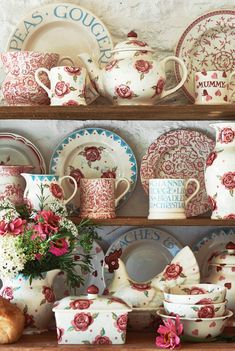 Pottery at Emma Bridgewater | So pretty, definitely would love to have a display like this in my house in future! Would look magnificent in a converted barn.
