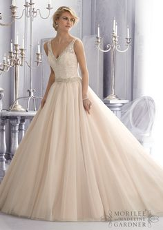 Mori Lee - Crystal Beaded Embroidery Trims Venice Lace on Tulle
