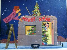Vintage Christmas Card 1960s Couple Decorating Shasta Style Camper Trailer published by Specialized Gifts Hollywood California. Personalized Card No. 6920