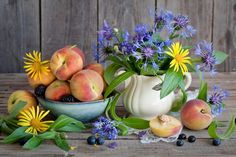 Peaches Still-life Blackberry Cornflowers Food Flowers