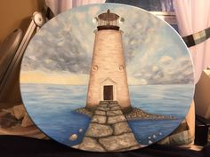 Lighthouse painted on a satellite dish Recycling, Diy Recycle, Lighthouse Painting, Satellite Dish, Lighthouses, Crafts To Make, Dishes, Future, Tv