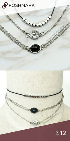"3pc Choker Necklace Set New - Never Worn  Includes all 3 necklaces - Black cord w/ square silvertone beads (12 1/2"" + 3"") - Silvertone chain & pendant (12 1/2"" + 3"") - Double silvertone chain & black pendant  (12 1/2"" +3"")  Wear just one or wear them all. Since they're all the same length, you can change up the order they're worn in.  Check my page for more great items & discounts. #oneinamillionjillian Jewelry Necklaces"