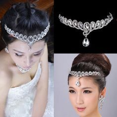 Hot Selling Teardrop Crystal Bridal Frontlet Hair Accessories Jewelry Wedding Free Shipping