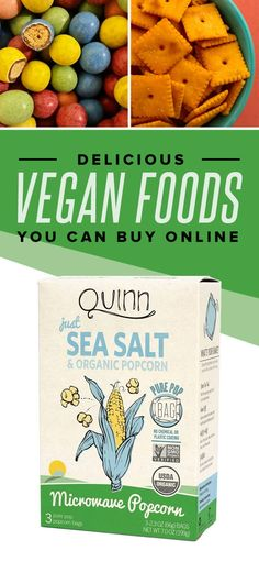 Incredibly Delicious Vegan Foods You Can Buy Online All of the plant-based noms.All of the plant-based noms. Vegan Treats, Vegan Foods, Vegan Chips, Organic Popcorn, Vegan Jerky, Vegan Store, Plant Based Nutrition, Delicious Vegan Recipes, Paleo Recipes