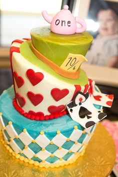 Cool cake at an Alice in Wonderland birthday party! See more party planning ideas at CatchMyParty.com!