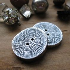 woodgrain 2 BUTTONS solid sterling silver Made To by ballandchain, $95.00