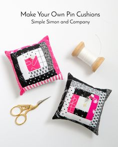 Quilt Blocks Turned Pincushions - Simple Simon and Company Easy Sewing Projects, Sewing Projects For Beginners, Sewing Hacks, Sewing Tutorials, Sewing Ideas, Sewing Kits, Make Your Own Pins, Tie Template, Leftover Fabric