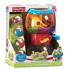 Little ones learn cause and effect from dropping gumballs into the top of this Fisher-Price Swirlin' Sounds Surprise Gumballs machine and then pulling the lever to see them roll out of the bottom.