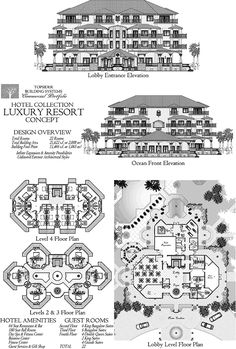 , 0 Bedrooms, 0 Baths, Commercial Collection (COMM-Luxury-Resort_hotel-Ocean-Front-Floor-Plan) by Topsider Homes Hotel Floor Plan, House Floor Plans, Plano Hotel, Resort Plan, Hotel Room Design, Apartment Floor Plans, Holiday Resort, Architecture Plan, Hotels And Resorts