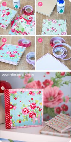 DIY Fabric Covered Journals by Crafts and Creativity Adorable! Do It Yourself Baby, Do It Yourself Wedding, Handmade Journals, Handmade Books, Fabric Crafts, Paper Crafts, Diy Crafts, Easy Gifts, Homemade Gifts