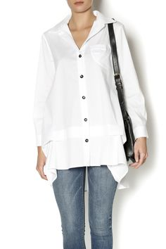 Collared button-down with long sleeves, pleated detail on the front and button detail down back. Pair with jeggings or a slim-fit black pant for an effortlessly-chic look. Collared Button Tunic by Comfy U.S.A.. Clothing - Tops - Blouses & Shirts Clothing - Tops - Long Sleeve Clothing - Tops - Tunics Iowa