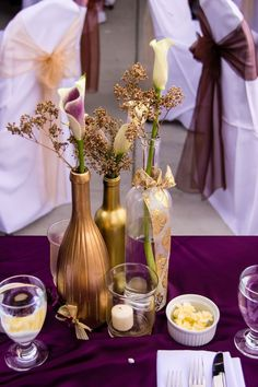 Plum, gold bronze wedding colors---like the idea of bronze spray-painted wine bottles Bronze Wedding Colours, Purple And Gold Wedding, Plum Wedding, Purple Gold, Trendy Wedding, Wedding Colors, Fall Wedding, Dream Wedding, Wedding Ideas