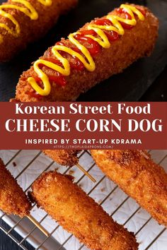 Hot Dog Recipes, Recipes With Hotdogs, Amazing Food Recipes, Yummy Food, Cheese Corn Dog Recipe, Crispy Corn Recipe, Korean Hot Dog Recipe, Baked Corn Dogs, Korean Street Food