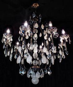 #chandelier LUSTRE AVELINO 10BRAÇOS EM CRISTAIS DE ROCHA BRANCOS E CRISTAIS TRANSPARENTES ASFOUR (EGITO - 30% PBo),, COM 90CM DE DIÂMETRO X 1,15M DE ALTURA.