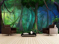 Rainforest wall mural room setting