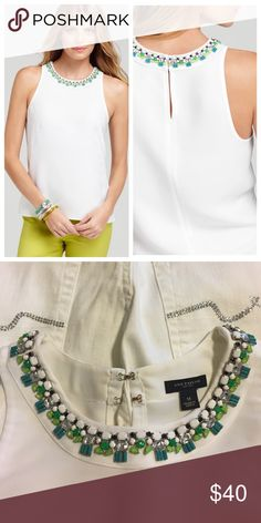 Crystal Collar White Jeweled Garland Shell M You don't need to accessorize with this stunning shell. Wear it in the summer, or winter. Dress it up, or down. Like new. No jewels missing. 100% polyester. Left side zip closure. As seen on Bethenny Frankel. Ann Taylor Tops Tank Tops