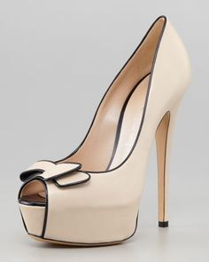 Open-Toe Bow Platform Pump by Casadei | SS2013
