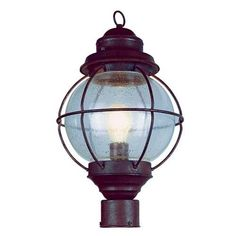 Bel Air Lighting Lighthouse Outdoor Rustic Bronze Post Top Lantern with Seeded Glass 69902 RBZ at The Home Depot - Mobile Outdoor Post Light Fixtures, Outdoor Post Lights, Outdoor Lighting, Lighting Ideas, Rustic Ceiling Light Fixtures, Outdoor Lantern, Outdoor Decor, Lantern Post, Wall Lantern
