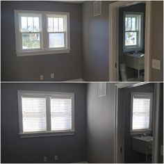 ASAP Blinds | White wood blinds in a utility room.