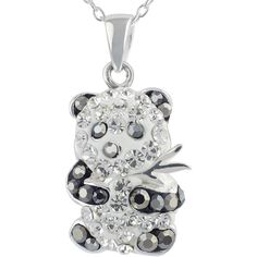 Panda Crystal-Accent Pendant Necklace (65 BRL) ❤ liked on Polyvore featuring jewelry, necklaces, pandora jewelry, long necklace, crystal pendant necklace, cable chain necklace y cross necklace