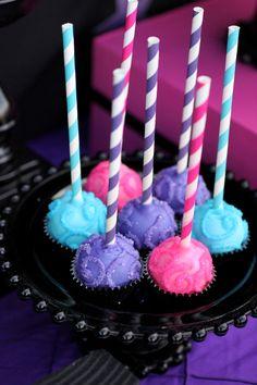 rockstar birthday party cake pops rock star girl striped paper straws