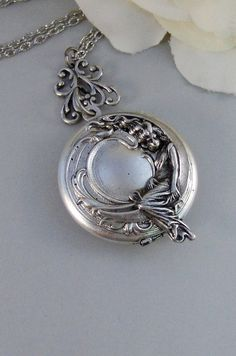 Moon Goddess,Locket,Silver Locket,Girl,Moon,Goddess,Antique Locket,Night,Jewelry. Handmade jewelry by valleygirldesigns.