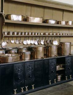 Copper pots & pans - The kitchen at Petworth House, Petworth, West Sussex, England, UK Copper Pots, Copper Kitchen, Old Kitchen, Kitchen Pantry, Rustic Kitchen, Vintage Kitchen, Kitchen Dining, Unfitted Kitchen, Kitchen Black