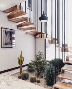 Minimal Interior Design Inspiration 180 UltraLinx floating stairs with living desert plants Interior Design Inspiration, Home Interior Design, Interior Decorating, Design Ideas, Diy Interior, Home Stairs Design, Stair Design, Staircase Interior Design, Corridor Design