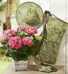 What a cute gardening set! & On Sale! 800 Flowers, Send Flowers, Blue Flowering Shrubs, Flowers Delivered, Lady Grey, Shabby Vintage, Simple Pleasures, Things To Buy, Pink And Green